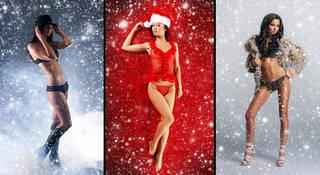 Bild von Mädchen in schönen und weihnachtlich am Neujahrstag anmutig gekleidet.